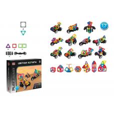 """Конструктор магнітний Play Smart """"Машинки"""", 17 деталей, 29 моделей, колеса з трансформацією, в коробці"""
