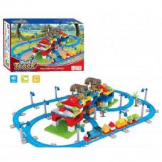 Детский конструктор, железная дорога, паровозик музыкальный, 246 деталей