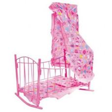 Ліжечко - качалка Melogo 47x33x67 см для ляльок: матрац, подушка, балдахін