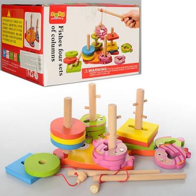 Логическая деревянная игрушка Геометрика Пирамидка ключик рыбалка 2в1 (0902)