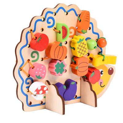Деревянная шнуровка Ёжик с фруктами 82 детали (0928)