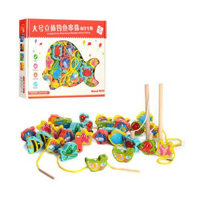Деревянная игрушка Шнуровка рыбалка, морские обитатели 30шт (1008)