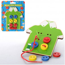 Деревянная игрушка шнуровка для малышей пуговицы MD 0905