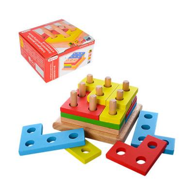 Деревянная игрушка Геометрика, геометрическая пирамида принцип тетриса (MD 1132)