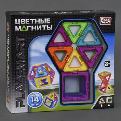 """Магнитный конструктор PlaySmart """"Цветные магниты"""" 14 деталей (2425)"""