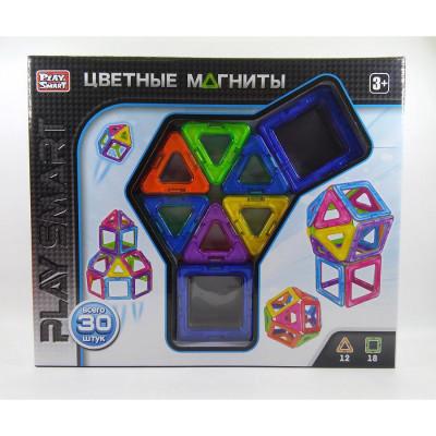 Магнитный конструктор Цветные магниты Play Smart 30 деталей (2427)