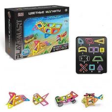 Конструктор магнітний 2466, кольорові магніти, 36 деталей, Play Smart
