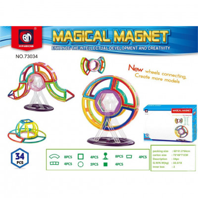 Развивающий Магнитный конструктор Magical Magnet аналог Magformers 34 детали (73034)