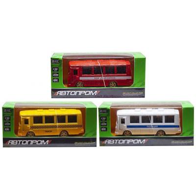 Автобус металлический Автопром (Желтый, красный, белый)