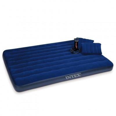 Двуспальный надувной матрас Intex с насосом и двумя подушками 203x152 см (64765)