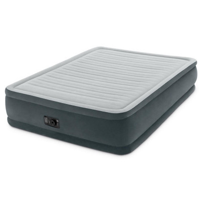 Надувная велюровая кровать Intex Comfort Airbed With Built-In Electric Pump 203х152х46см (64414)