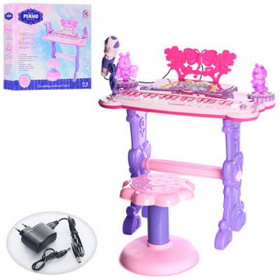 Детский Синтезатор на ножках, стульчик, микрофон, демо, свет, MP3 (6618)