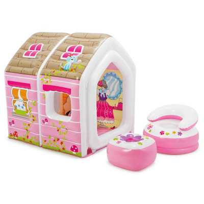 """Надувной игровой центр-домик Intex """"Princess Play House"""" с надувным креслом и столом (48635)"""
