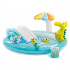 Детский игровой надувной центр Крокодил с горкой 273х173х99 Intex 57129