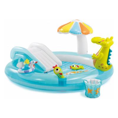 Детский игровой надувной центр Крокодил с горкой Intex 273х173х99 (57129)