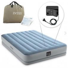 Надувная кровать Intex 64168, 152 х 203 х 36 см, встроеный электронасос, двухспальная