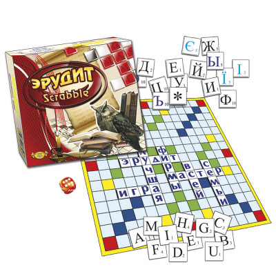 Настольная игра Эрудит Scrabble Составь слово 3 языка (МКБ-0131-42)