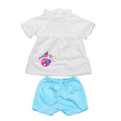 Одежда для кукол Беби Борн Белая футболка с голубыми штанишками (BJ-10-10)