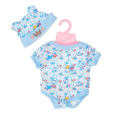 Одежда для кукол Беби Борн Бодик бело-голубой и шапочка с ушками (BJ-10-11)