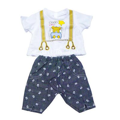 Одежда для кукол Беби Борн Baby Born Белая футболка с медвежонком + джинсовые штанишки (BJ-10-9)