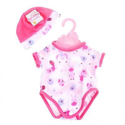 Одежда для кукол Беби Борн Белое боди с розовыми зверушками с шапочкой (BJ-10-4)