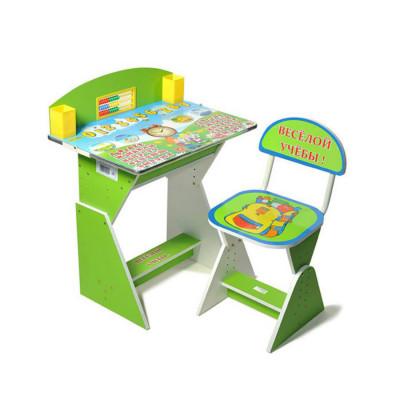 Детская парта со стульчиком Веселой учебы регулируется по высоте (E2017 Green-blue)