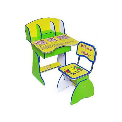 Детская парта + стул Веселой учебы (E2881 Green-yellow)