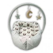 Гнездышко кокон игровой матрасик Greta lux (Голубой)