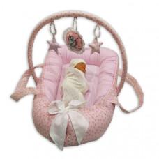 Гнездышко игровой матрас с ручками Greta lux (Розовый)