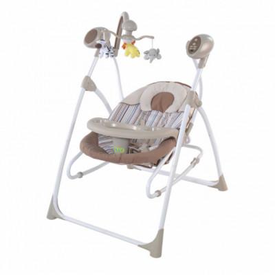 Детская качель-шезлонг-колыбель с пультом Baby Tilly зел,сер,беж (BT-SC-0005)