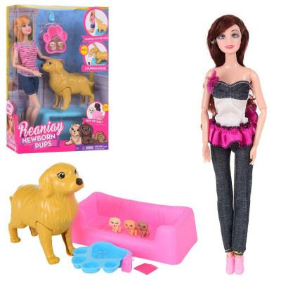 Набор кукла шарнирная с собачкой, которая рожает щенков, 2 вида (CS699-13)