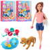 Кукла шарнирная Hayley с собачкой, аксессуары, уточка-пищалка, круг для купания (HB015)