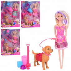 Кукла с собачкой 12 см, корм, набор для уборки