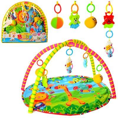Игровой развивающий музыкальный коврик для младенцев с яркими подвесными игрушками (518-17)