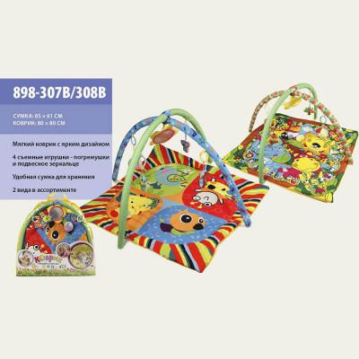 Развивающий коврик для малышей мягкий, с погремушками 80х80 см (898-307B/308В)