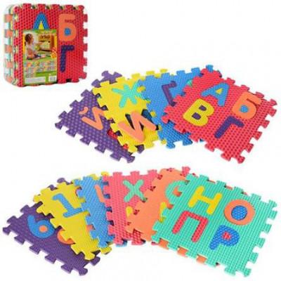 Развивающий коврик пазл, мозаика Алфавит (укр) напольный EVA 10 элементов (M 2609)