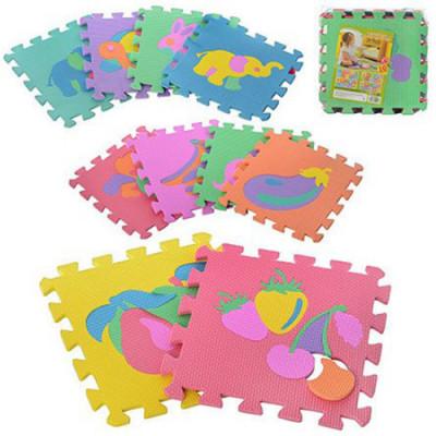 Детский напольный коврик-пазл, мозаика фрукты-животные EVA 10 элементов (M 0376)