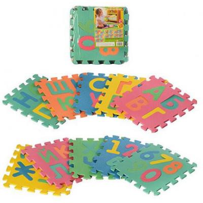 Детский напольный коврик-пазл, мозаика Алфавит + Цифры EVA 10 элементов (M 2736)
