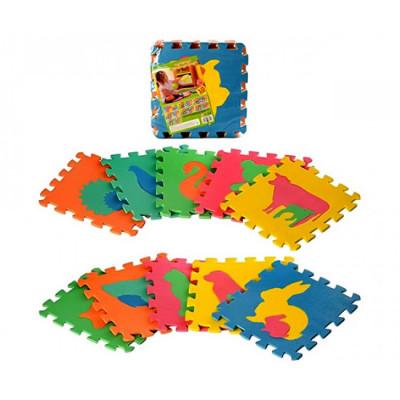 Детский развивающий коврик-пазл, мозаика Животные Мама и малыши EVA 10 элементов (M 2738)