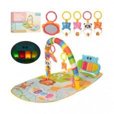 Детский развивающий коврик для младенца Веселый Бегемотик с пианино