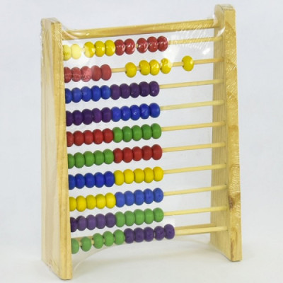 Детская деревянная игрушка Счеты с разноцветными костяшками 15x5x20 см (С 29508)