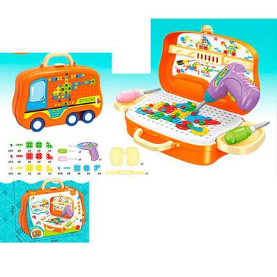 Детская болтовая мозаика с шуруповертом в чемоданчике 136 элементов (678-107А)