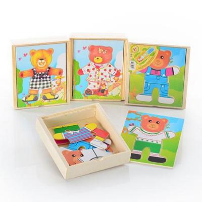 Деревянная игрушка пазл Гардероб Одень мишку (MD 0295)