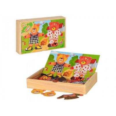 Деревянная игрушка пазл Гардероб Одень мишек (MD 0296)