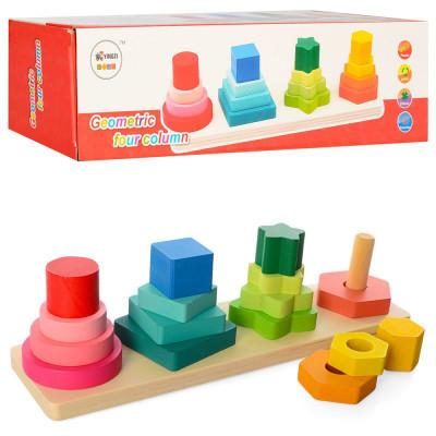 Детская деревянная игрушка Геометрика 16 деталей (MD 1216)