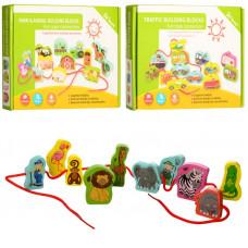Деревянная игрушка Шнуровка MD 1263 фигурки-животные 48 шт