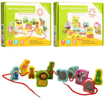 Деревянная игрушка Шнуровка фигурки-животные 48шт (MD 1263)