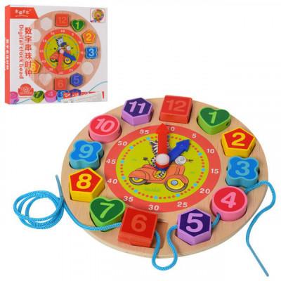 Деревянная игрушка Часы рамка-вкладыш, шнуровка 80шт (MD 1270)