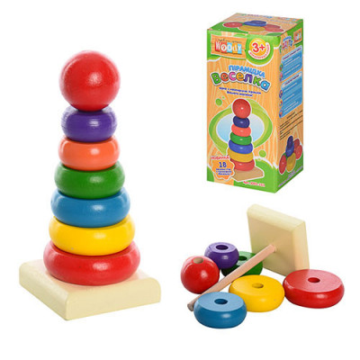 Деревянная игрушка Пирамида Радуга 15 х 6 см (MD0066)