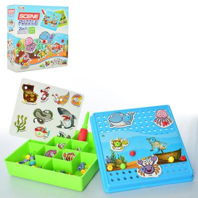 Детская мозаика Морские животные A-Toys, на шурупах с отверткой, 105 деталей (TLH-07)